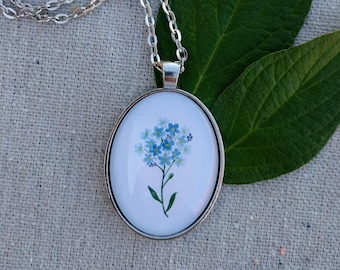 Forget-me-not Glass Pendant Necklace - Best Friend BFF Necklace - Something Blue Floral Wedding Necklace - Forgetmenot Flowers