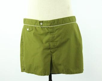 60s Jantzen Swim Trunks Shorts Swimtrunks Olive Green Vintage 1960s Mens Size 36 Rockabilly Hipster