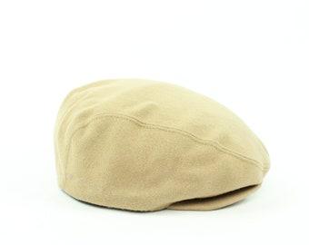 0809387dd47 80s Burberrys Newsboy Cap Golf Hat Tan Wool Vintage 1980s Preppy