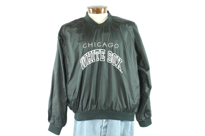 super popular 12aaf 77552 80s Chicago White Sox Sweatshirt Windbreaker Nylon Pullover Black MLB  Baseball Vintage 1980s L Large Logo 7 Mens