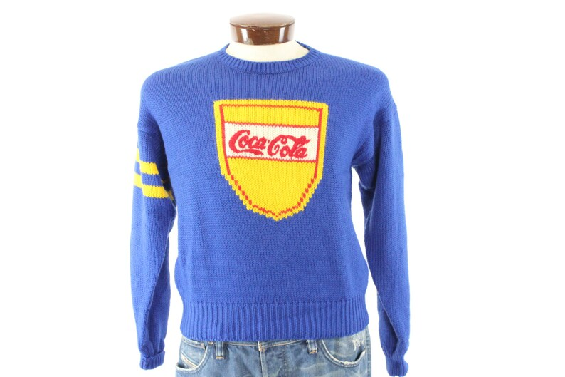 Vintage 80s Coca Cola Sweater Blue Wool Pullover Coke  3e39ad108d50