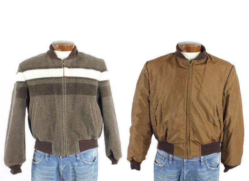 675061f0c Vintage 50s McGregor Coat Bomber Jacket Reversible Mens Nylon Rockabilly  1950s Medium M Small S Brown