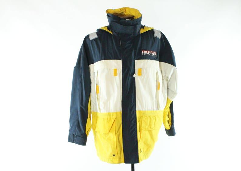 3efa848de Vintage 90s Tommy Hilfiger Jacket Sailing Gear Coat Yellow | Etsy