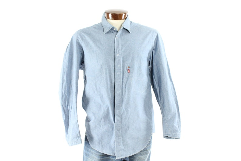 fdc08a639b5 Vintage 90s LEVIS Chambray Shirt Snaps Light Blue Cotton Denim