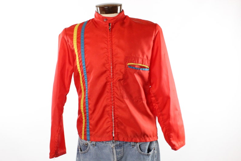 detailed look 50c86 2749d Vintage 60er Jahre rot Nylon Racing Jacke 1960 Medium M