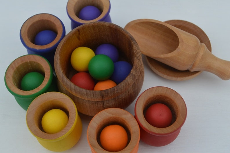 Balls and Cups 20 Pc. Deluxe Set  Montessori Sorting Counting image 0