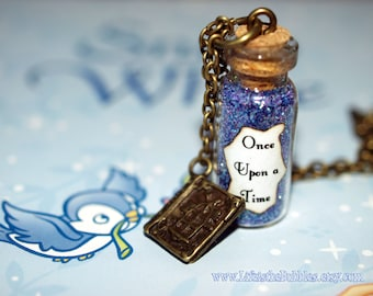 Once Upon a Time Magical Necklace glass Bottle Necklace with an Old Book Charm