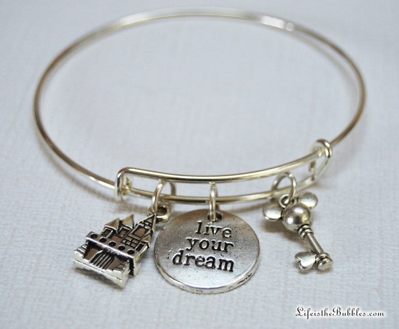 Live Your Dream Bracelet Charm Bangle Bronze Silver Inspiration Words Charms