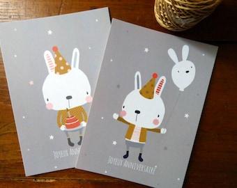 Set of 2 happy Birthday postcards