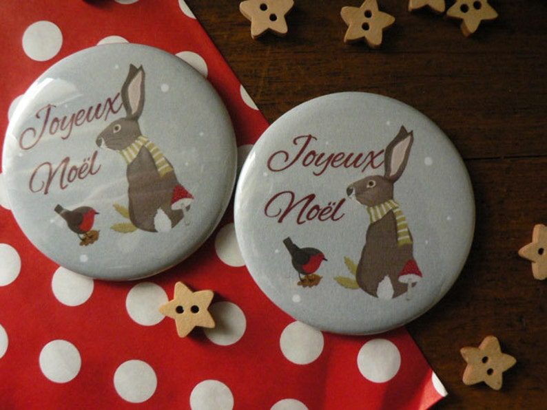 Christmas Magnet featuring a Christmas bunny image 1