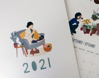 2021 Wall Calendar. A4 house rabbit 2021 calendar. Christmas Gift idea for rabbit lovers !