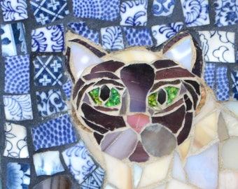 Handmade Siamese Cat Mosaic