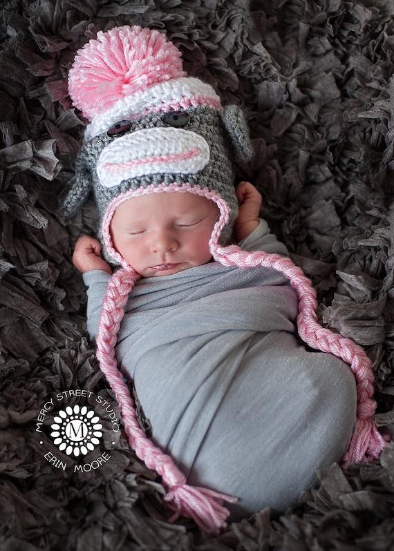 Ähnliche Artikel wie Baby Mädchen Hut, Kleinkind Sock Monkey Hut ...