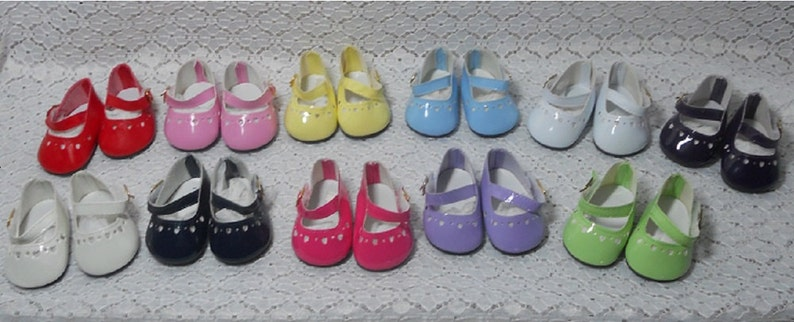 738e87feedf07 Monique Green Heart Patent Leather Mary Jane Shoes for American Girl size  Feet