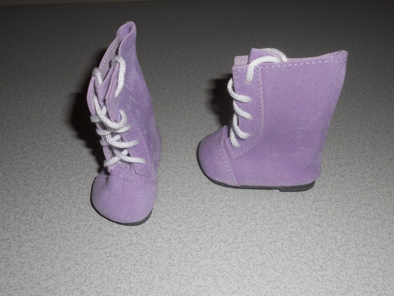 Patience /& NuMood DOLL Shoes 44mm PINK SUEDE Lace up boots  Ellowyne