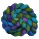 Hand dyed wool roving - Teeswater wool spinning fiber - 4.0 ounces - Rushing Stream