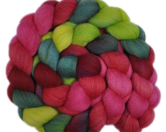 Hand dyed roving -  Silk / Merino wool 20/80% spinning fiber - 4.0 ounces - Carnival Dancers 1