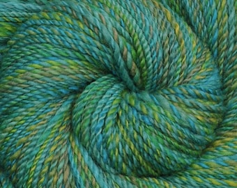 Handspun yarn - Hand painted Blue Faced Leicester (BFL) wool, worsted weight, 255 yards - Tropical Shores