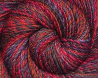 Handspun yarn - Hand painted Corriedale wool, worsted weight, 220 yards - Easy Charm