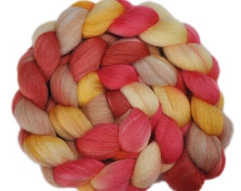 Hand painted roving - Silk / Falkland wool spinning fiber - 4.2 ounces - Small Courtesies 1
