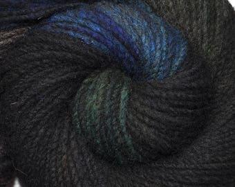 Handspun yarn - Hand painted domestic wool, heavy worsted eight, 180 yards - Nocturnal Rustlings