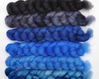 Hand dyed roving -  Blue Faced Leicester (BFL) wool spinning fiber - 6.1 ounces - Grand Sonata