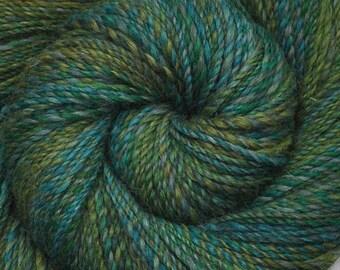 Handspun yarn - Hand dyed Alpaca / Merino wool, DK weight - 300 yards - Forest & Lake