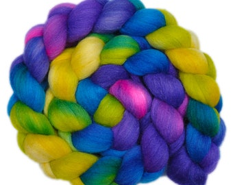 Hand painted roving - Silk / Falkland wool spinning fiber - 4.3 ounces - Happy Shouts