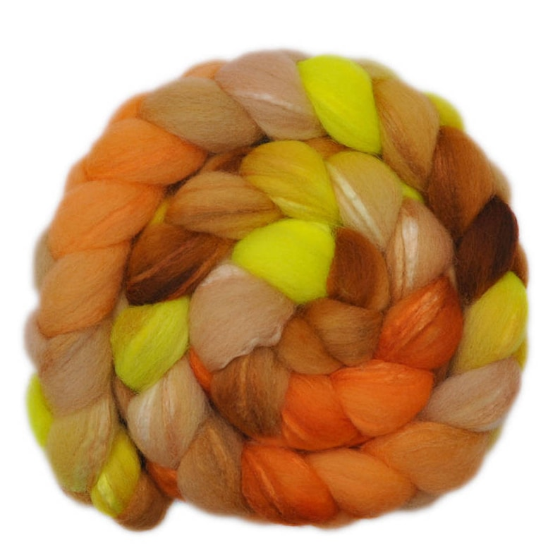 Silk  Shetland wool 3070/% spinning fiber 3.9 ounces Hand painted combed top roving Sunny Smile 1