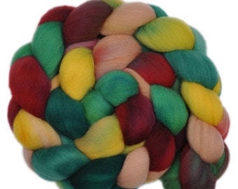 Hand dyed roving -  Targhee wool spinning fiber - 4.2 ounces - Cottage Garden 1