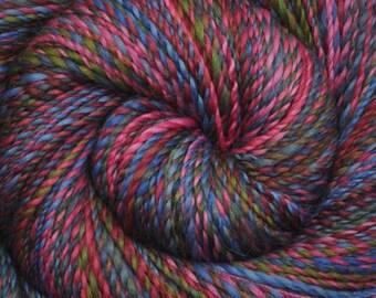 Handspun yarn - Hand painted Corriedale wool, worsted weight, 205 yards - Damsel in Distress