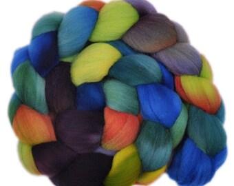 Hand dyed roving -  Targhee wool spinning fiber - 4.1 ounces - Secret Smile 2