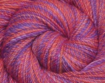 Hand spun yarn - Hand painted Silk / Falkland wool, Fine Sport weight - 345 yards - Parrot Talk