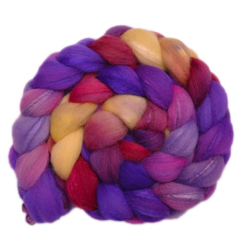 4.0 ounces Silk  Shetland wool 3070/% spinning fiber Hand painted roving Wishful Thinking 3