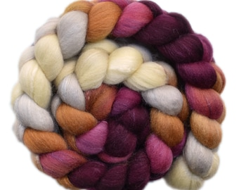 Hand painted roving - Silk / Polwarth wool 15/85% spinning fiber - 4.3 ounces - Fancy Cake 2