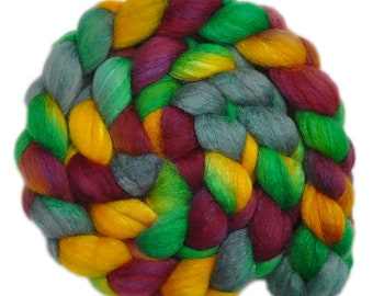 Hand dyed roving - Silk / BFL wool 25/75% spinning fiber - 4.1 ounces - Meadow Ramble 1