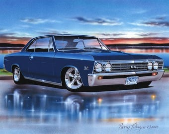 1967 Chevelle SS Hardtop Muscle Car Art Print w/ Color Options & Muscle car wall art | Etsy