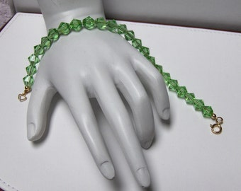 Faceted Spring Green Crystal Bicone Bracelet Handcrafted Jewelry