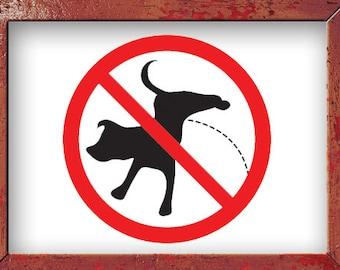 No Peeing Sign, Dog Decal, Dog Decor, Wall Decal, Vinyl Sticker, Wall Decor, Home Decor, Park Sign, Office Sign, Wall Art, School Decor