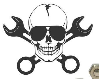 Mechanic Skull Decal Etsy
