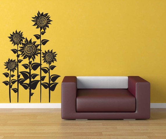 Cheerful Summer Interiors 50 Green And Yellow Kitchen: Sunflower Decor Sunflowers Floral Wall Decal Flower