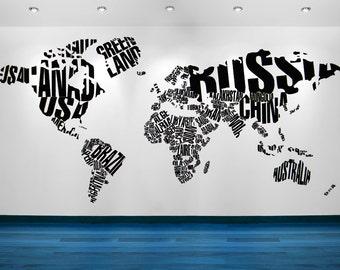 World Map Wall Art, World Map Decal, World Map Wall Decal, World Map Art, World Map Decor, Home Decor, Wall Art, School Decor