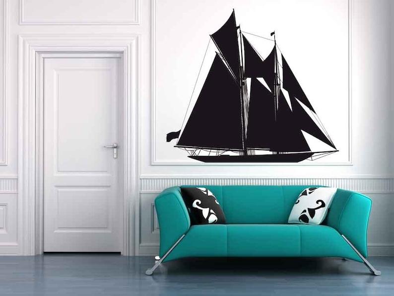Kid/'s Bedroom Sailboat Decor Pirate Ship Art Boat Sailing Decor Navy Decor Sticker Home Vinyl Sailing Gift Pirate Ship Wall Decal