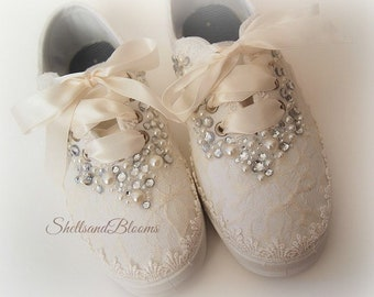 f401db904ce0 Wedding Bridal Flat Shoes - chic ivory or white lace - Rhinestone Pearls -  eyelet trim - Shabby vintage inspired - sneakers tennis