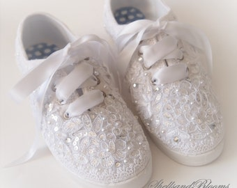 8ec8fb7f9eaf Wedding Sneakers Bridal Tennis Shoes Flats - chic ivory or white lace -  vintage shabby inspired - eyelet trim - embellished diva