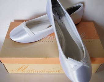 d294cee344f DIY Dyeable White Satin Ballet Slippers Shoes - 9W 8.5 8 wedding homecoming  prom special occasion slip ons flats - custom resell embellish