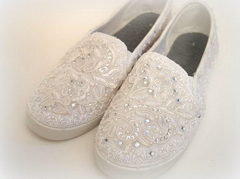 7d31dce43fe0 Wedding Bridal Flat Tennis Shoes chic white lace