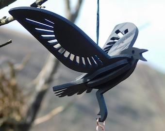 Cornish Crow decoration laser cut / lasercut mdf raven goth emo Edgar Allan Poe