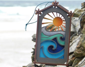 wave window hanging/free standing ornament, laser cut MDF