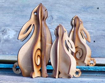 """moon gazing hare, rabbit, lasercut MDF, flatpack kit for self-assembly, in 2 sizes. """"Hare Cut"""""""